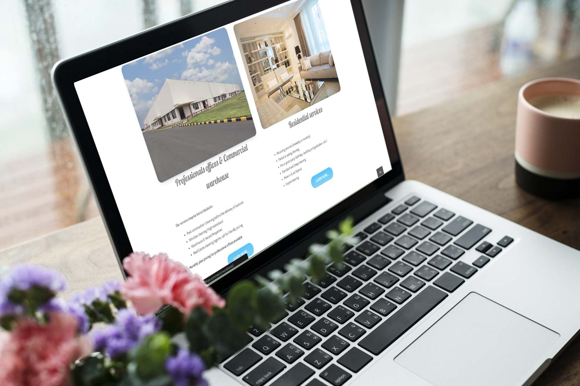 Portfolio - Alicia Cleaning Services desktop website